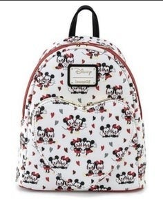 Mickey & Minnie Mouse Heart Love AOP Mini Backpack Disney Loungefly
