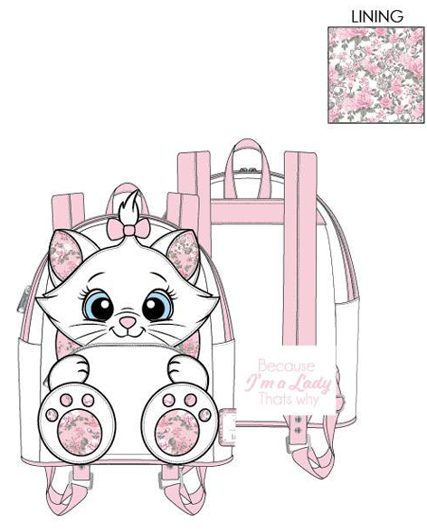 PREORDER Loungefly Disney Marie floral footsy mini backpack Expected late June