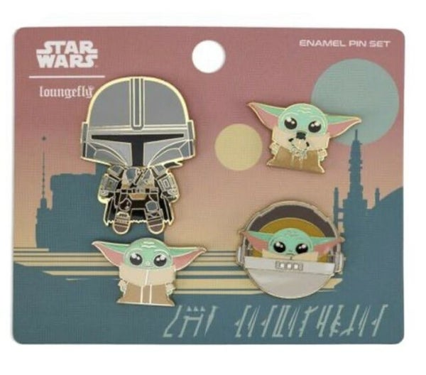 Star Wars Mandalorian & The Child 4pc Enamel pin set on card Loungefly