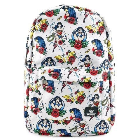 DC Wonder Woman Tattoo AOP Nylon Backpack Loungefly