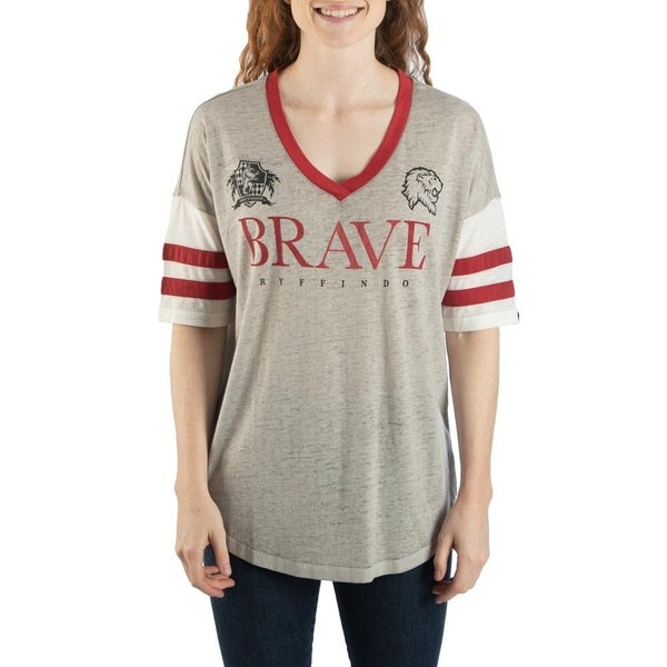 Harry Potter Gryffindor Striped Sleeve V-neck Tee