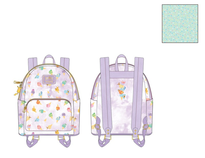 Pokemon Ice Cream Acid Wash Denim Backpack Sanrio Loungefly PRE-ORDER expected late May