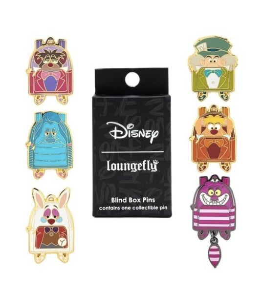 DISNEY ALICE IN WONDERLAND MINI BACKPACK BLIND BOX PINS LOUNGEFLY
