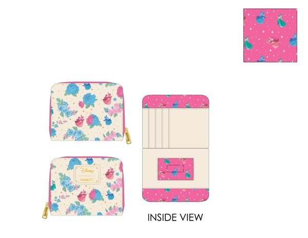 Sleeping Beauty Floral Fairy Godmother AOP Wallet Loungefly PRE-ORDER expected late March