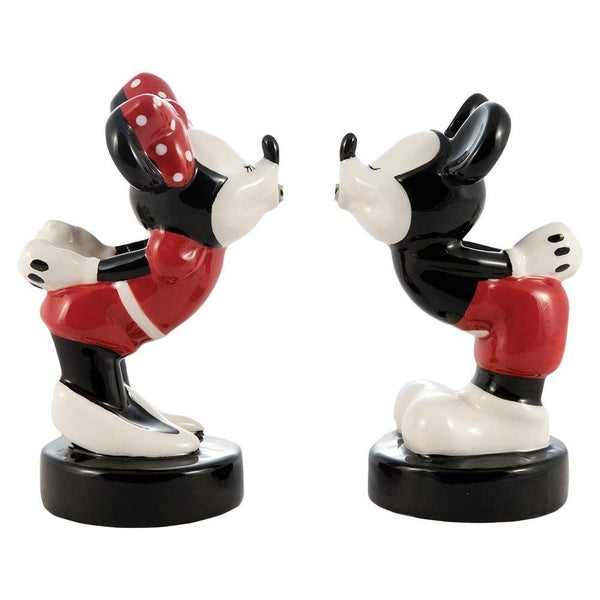 Disney Mickey & Minnie Kissing Sculpted Ceramic Salt & Pepper Set