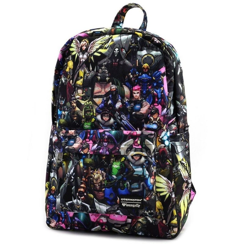 LOUNGEFLY OVERWATCH ALL OVER CHARACTERS BACKPACK