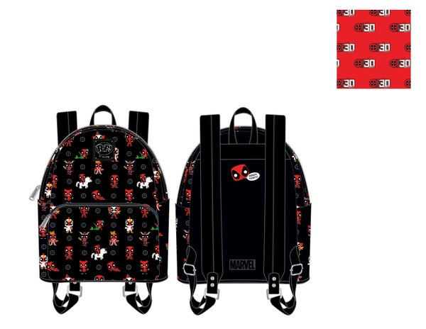 Marvel Deadpool 30th Anniversary AOP Mini Backpack Pop by Loungefly PRE-ORDER
