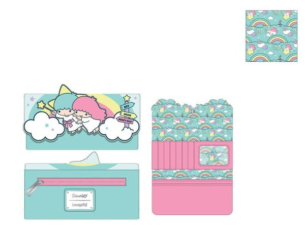 Sanrio Little Twin Stars Rainbow Cloud Trifold Wallet Loungefly - PRE-ORDER Late February