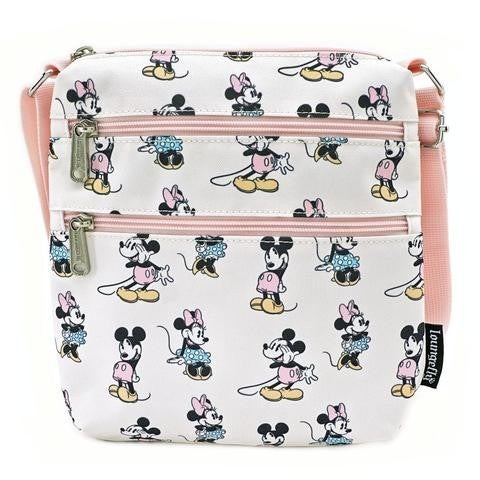 Disney Pastel Minnie Mickey AOP Nylon Passport Bag Loungefly