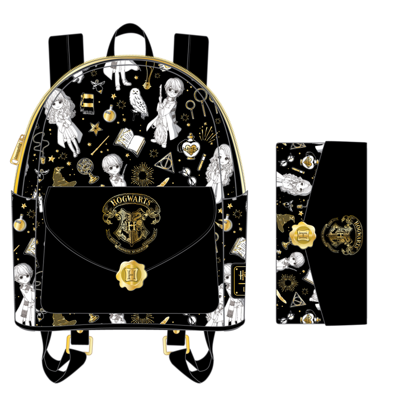 SET - Harry Potter Magical Elements Mini Backpack & Wallet Loungefly PRE-ORDER expected late May