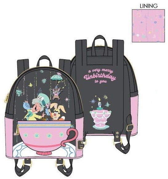 PREORDER Loungefly Disney Alice in Wonderland a very merry unbirthday mini backpack Expected Late June