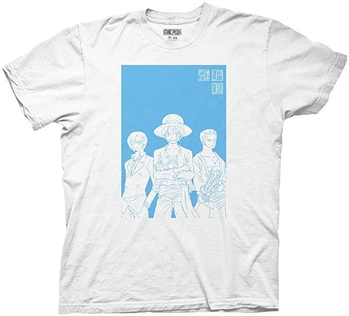 One Piece White and Blue t-shirt