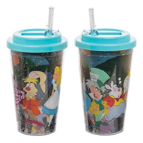 Disney Alice in Wonderland 16 oz. Flip Straw Acrylic Cup