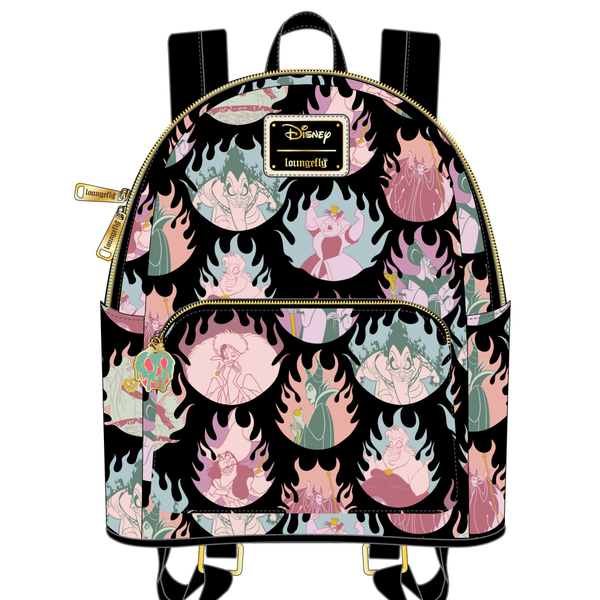 Disney Villians pastel flames AOP Mini Backpack Loungefly PRE-ORDER