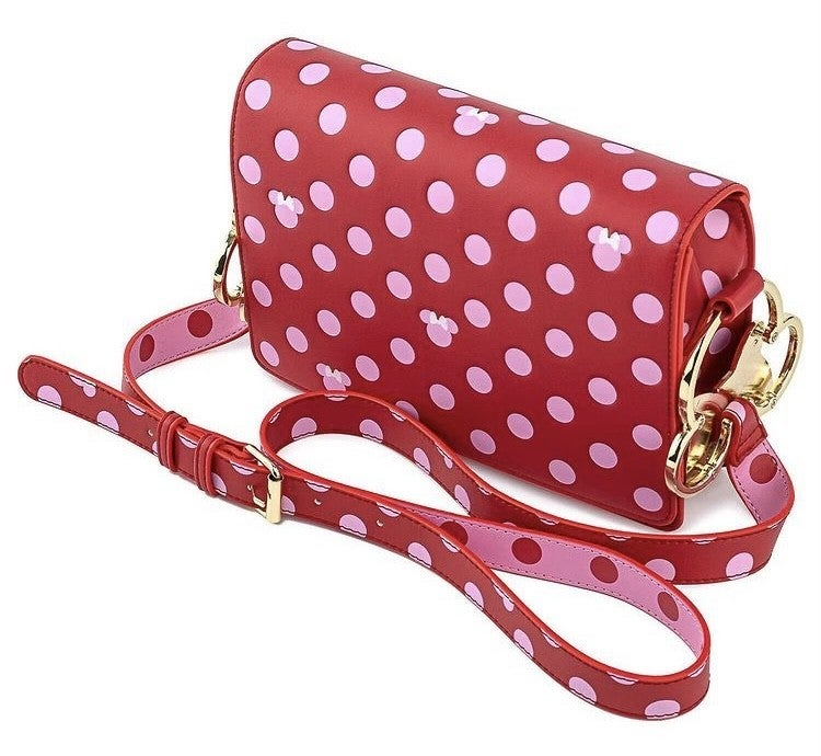 Minnie Mouse Pink Polka Dot Crossbody Disney Love  Loungefly