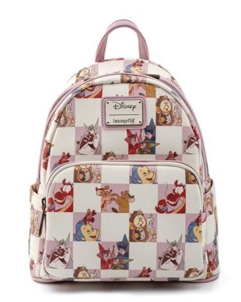 Disney Best Friends Characters Rose Checker Mini Backpack and / or Flap Wallet Set