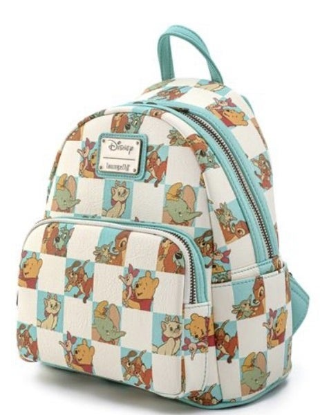 LOUNGEFLY DISNEY MINT BEST FRIENDS CHECKERED MINI BACKPACK AND/OR WALLET