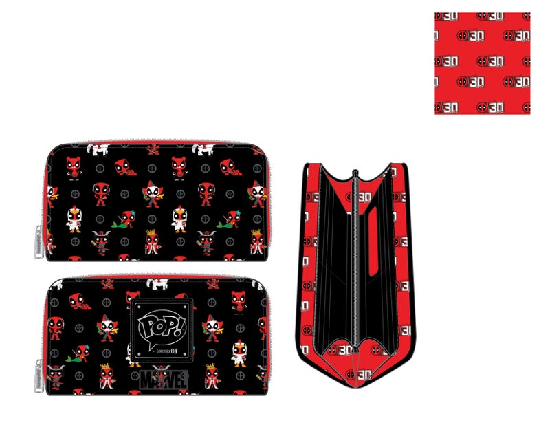 Marvel Deadpool 30th Anniversary AOP zip around Wallet Pop by Loungefly PRE-ORDER