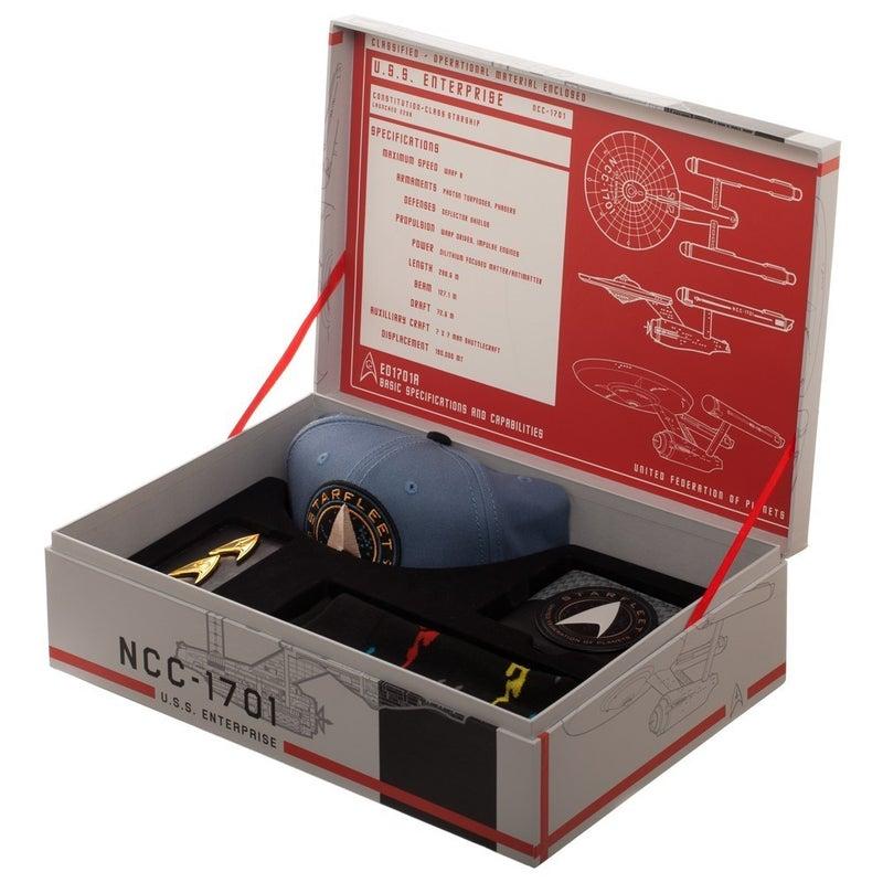 Star Trek Gift Box includes  Snapback, Wallet, Socks & Pin Set