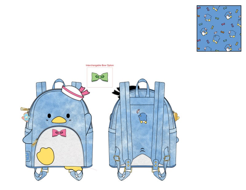 Tuxedo Sam Striped Mini Backpack Sanrio Loungefly PRE-ORDER expected late May
