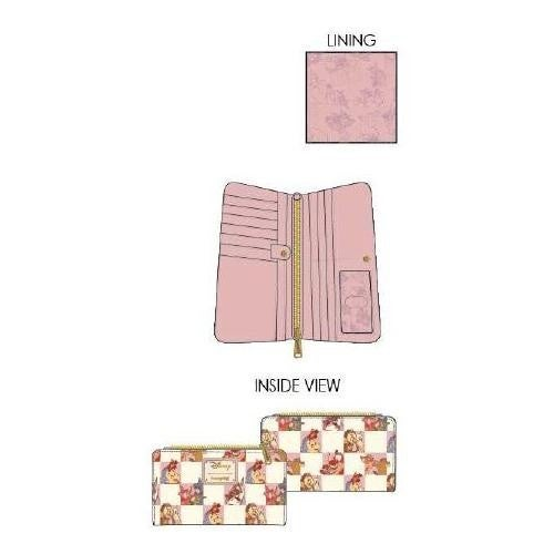 DISNEY ROSE CHECKER WALLET LOUNGEFLY