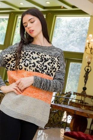 The Colorblock Leopard Sweater