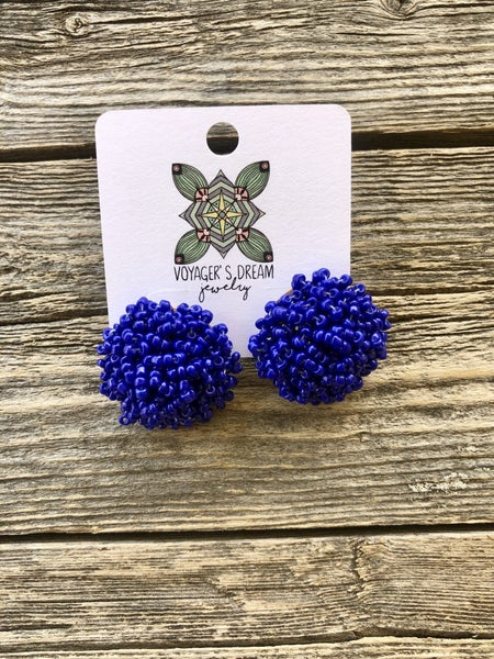 4th of July Pom Earrings
