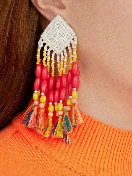 The Beaded Tassel Earring