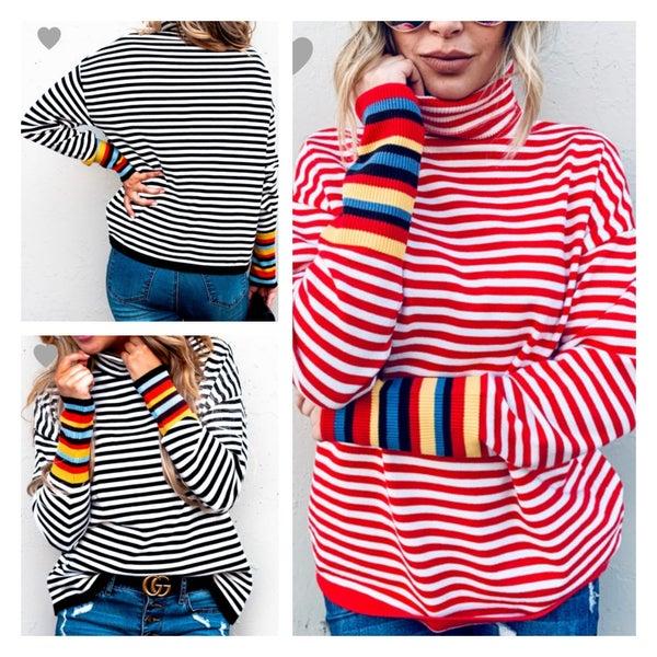 The Stripe Turtleneck Sweater