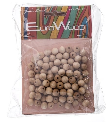 Round Wood Beads 8mm (two color options)