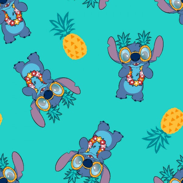 1 Yard Cut - Disney Stitch and Pineapples on Aqua Licensed Fabric