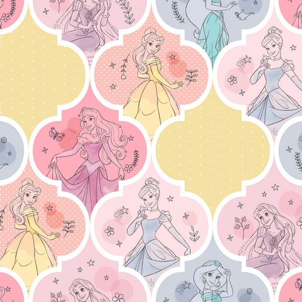 1 Yard Cut - Disney Princesses Pretty Patch Licensed Fabric