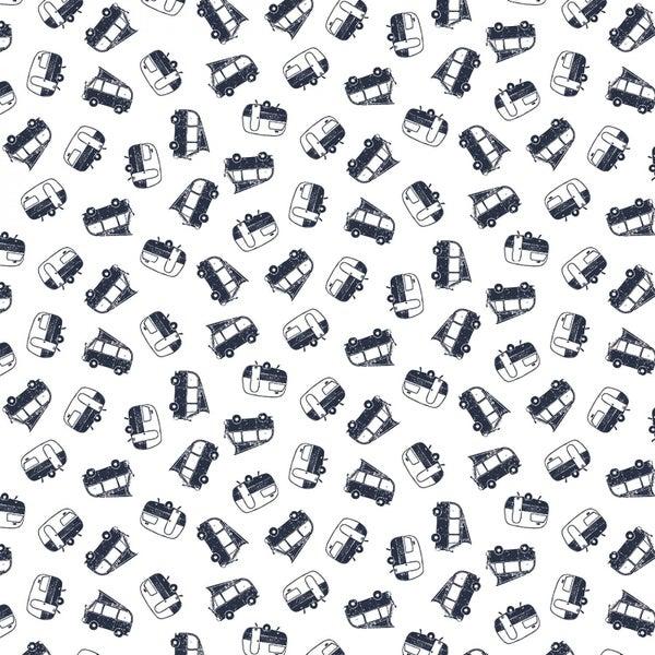 1 Yard Cut - Chop It Like It's Hot Campers on White - Dear Stella Fabrics