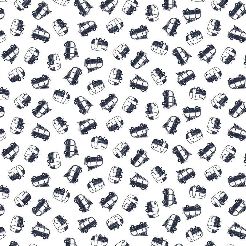 1 Yard Cut - Chop It Like It's Hot Campers on White - Dear Stella Fabrics