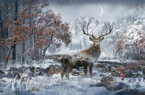 """43"""" x 29"""" Fabric Panel, Call of the Wild, Stag"""