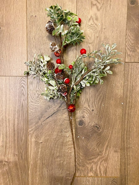23 inch Spray Frosted Leaves w/ Red Berries and Bells