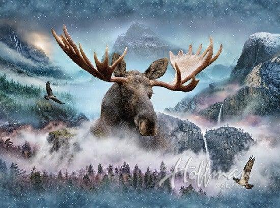 "43"" x 33"" Fabric Panel, Call of the Wild, Moose"