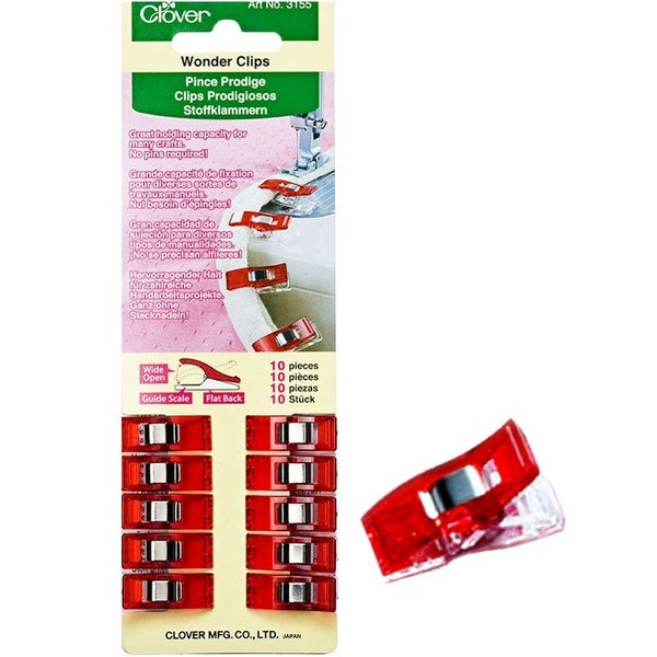 Clover Wonder Clips 10 Count Starter Pack - Red