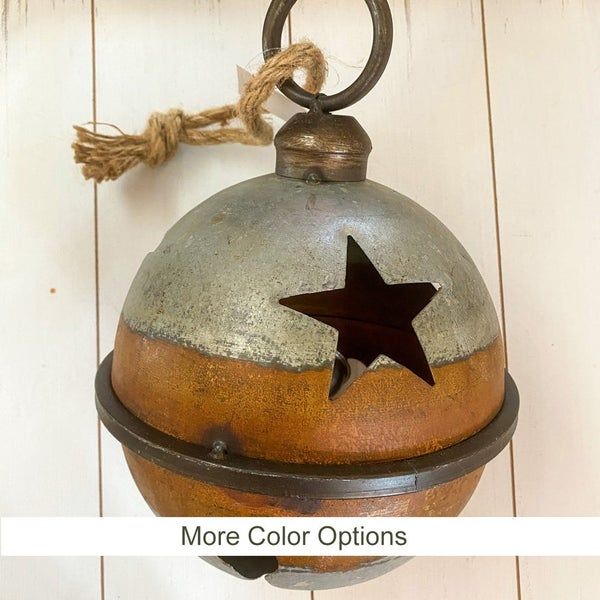 Large Rustic Jingle Bell with Star Cut Outs