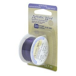 Artistic Wire- 26 Gauge Silver Plated, Orchid, 15 yd