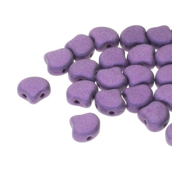 7.5mm Matubo Ginko Beads- Metallic Suede Purple