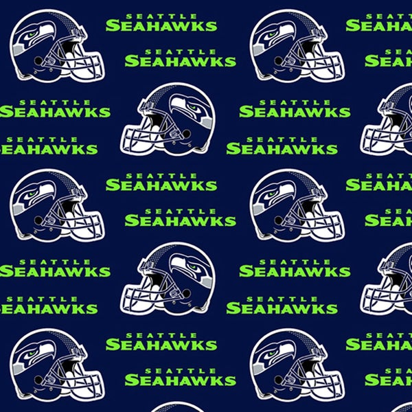 NFL Seattle Seahawks Helmets Allover on Navy fabric 1 yard