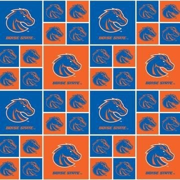 1 Yard College Cut Fabric, Boise State University Patch Blue and Orange