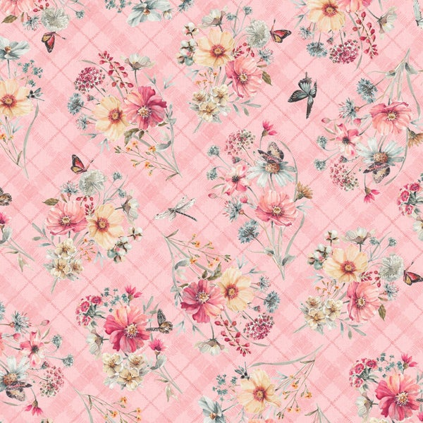 1 Yard Cut - Country Weekend Bouquet in Light Coral - Wilmington Fabrics