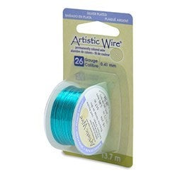 Artistic Wire- 26 Gauge Silver Plated, Seafoam Green, 15 yd