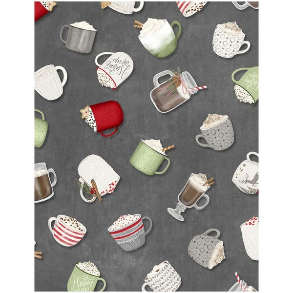1 yard cut - Hot Cocoa Bar Tossed Cups - Gray