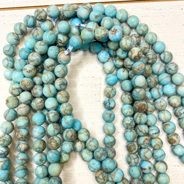 16 in. Gemstone Strand- 8mm Matte Jasper dyed Turquoise