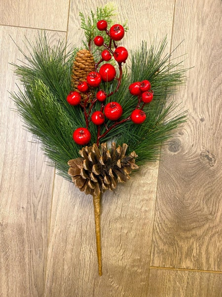 16 inch Pine pick w/ Pinecones and Berries