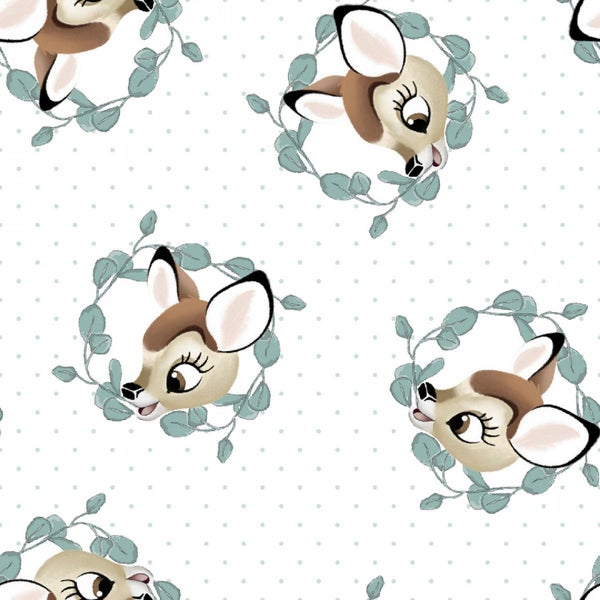 1 Yard Cut - Disney Bambi Badge Licensed Novelty Fabric