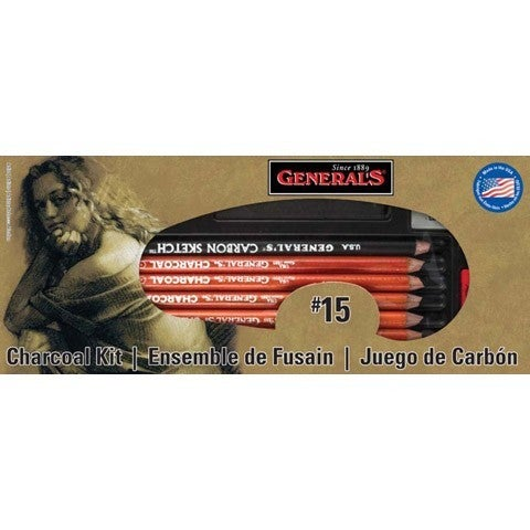 "General's  #15 Charcoal Kit - ""The Original"" Charcoal Drawing Kit 12 Piece Kit"